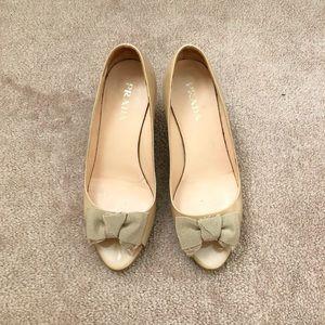 Prada Shoes - Prada nude patent peep toe kitten heel shoes